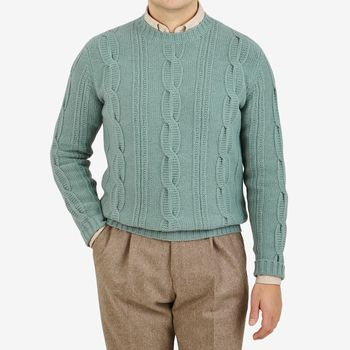 Altea Mint Green Wool Cable Knit Sweater Front
