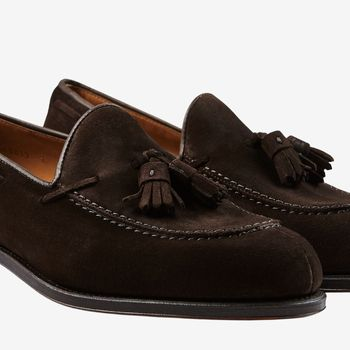 Carmina Brown Suede Forest Tassel Loafers Detail