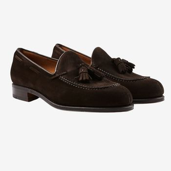 Carmina Brown Suede Forest Tassel Loafers Front