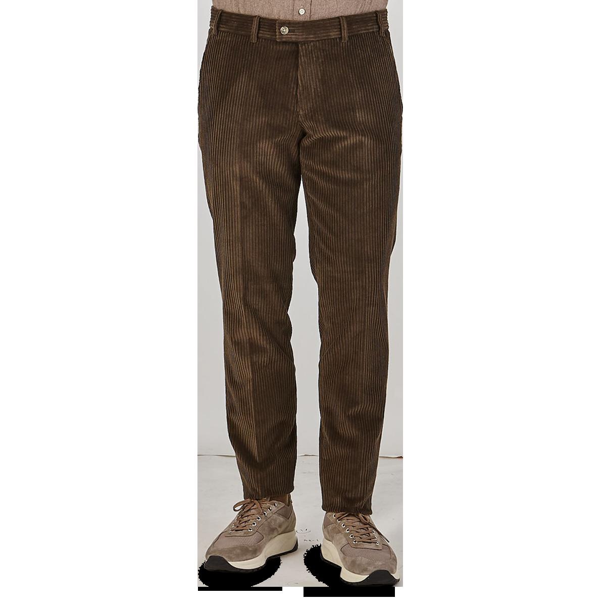 Hiltl Brown Wide Wale Corduroy Slim Trousers Front