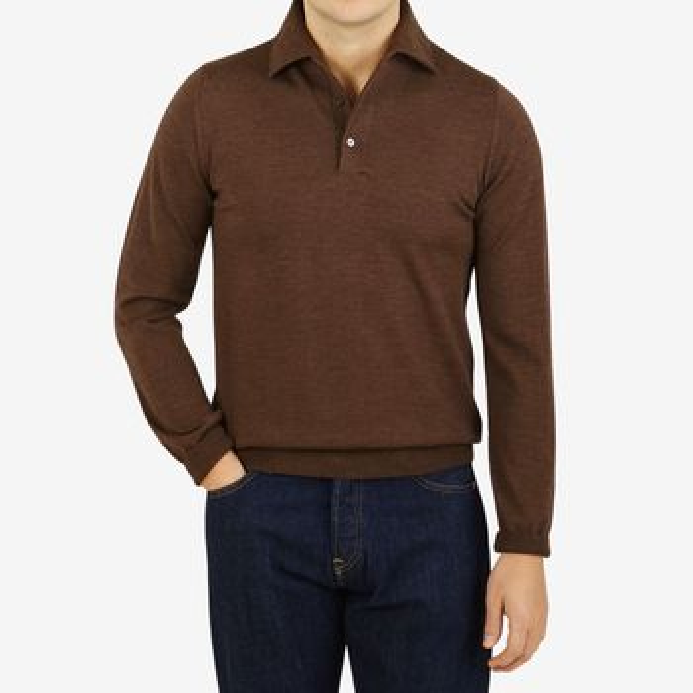 Stenströms Brown Zegna Baruffa Merino Wool Polo Shirt Front.png1