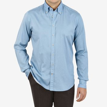 Stenströms Light Blue Washed Cotton Fitted Body BD Shirt Front