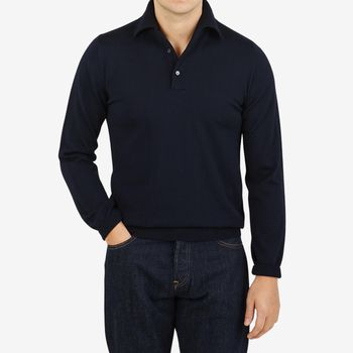 Stenströms Navy Zegna Baruffa Merino Wool Polo Shirt Front