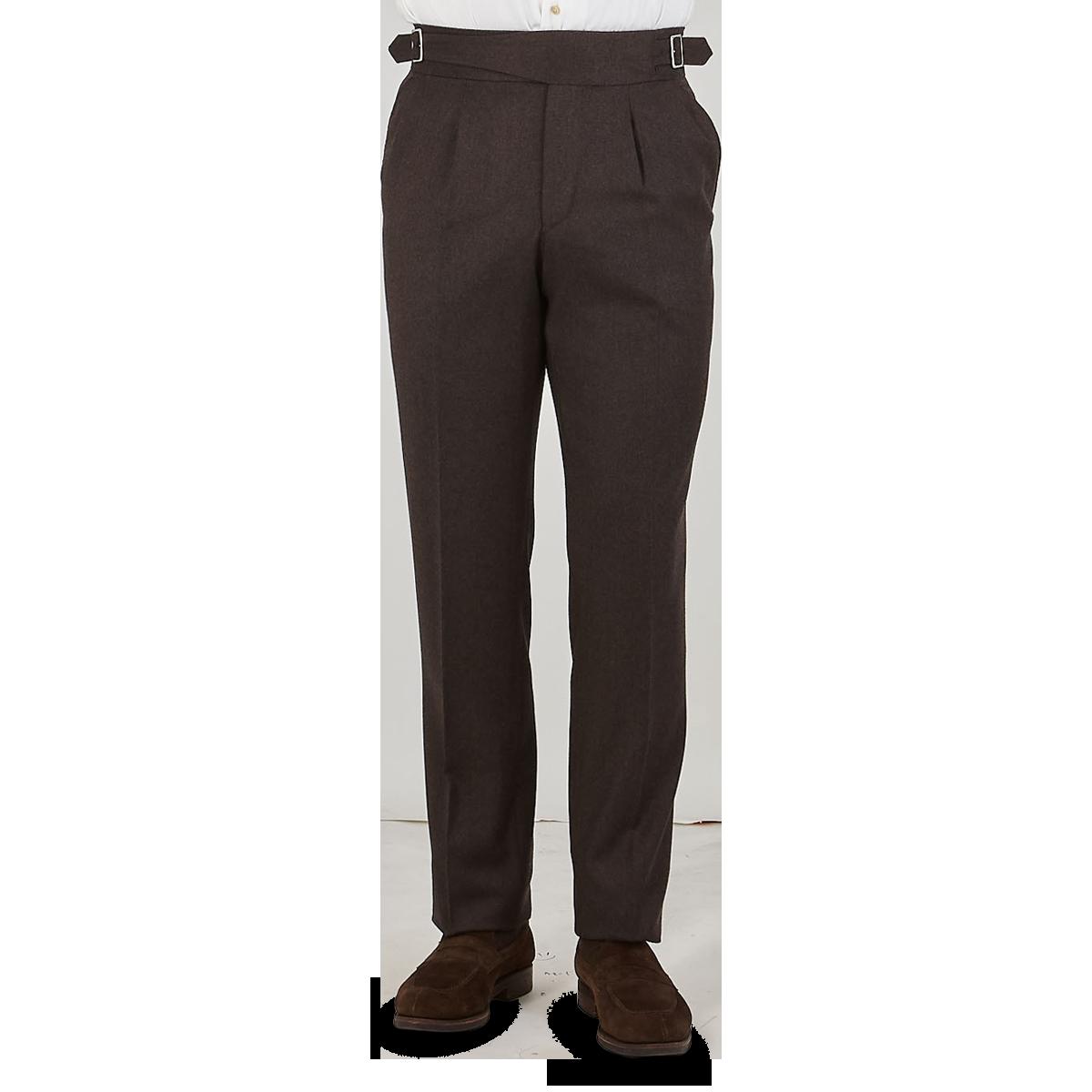 Studio 73 Brown Wool Flannel Pleated Gurkha Trousers Front1