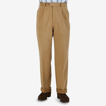 Studio 73 Camel Beige Cotton Twill Pleated Trousers Front