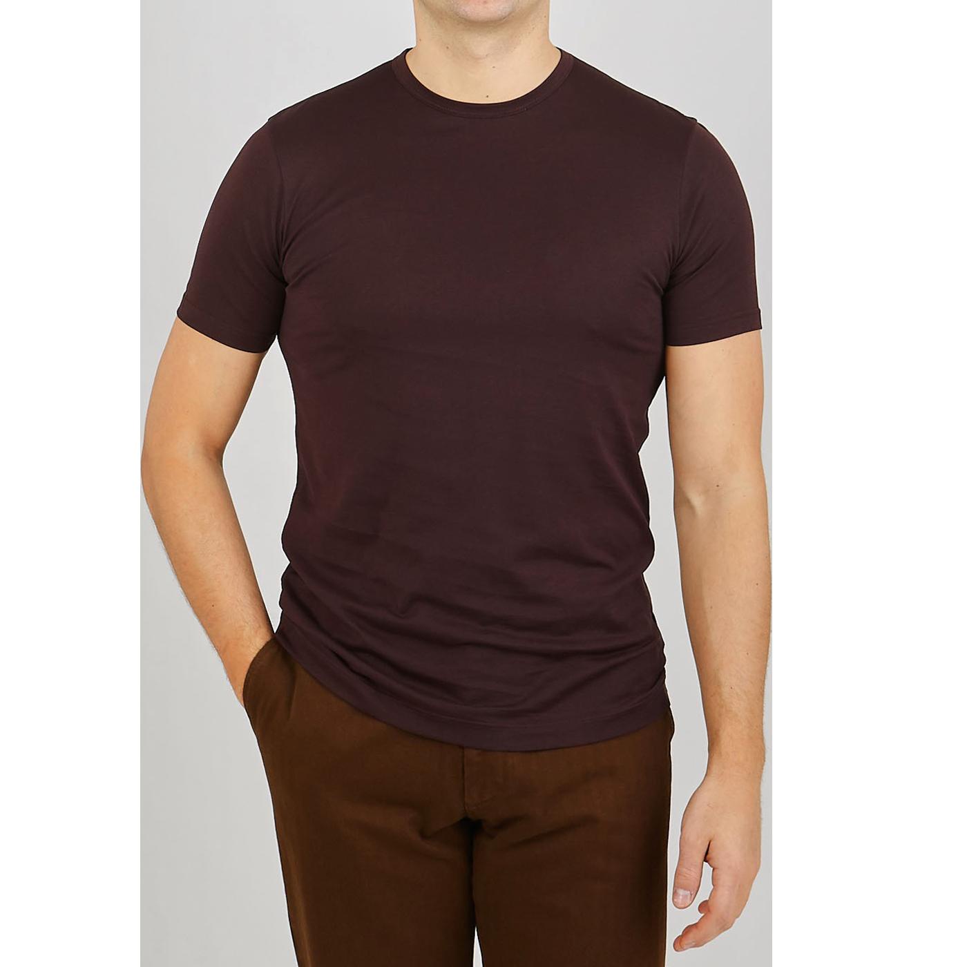 Sunspel Espresso Classic Cotton T-shirt Front