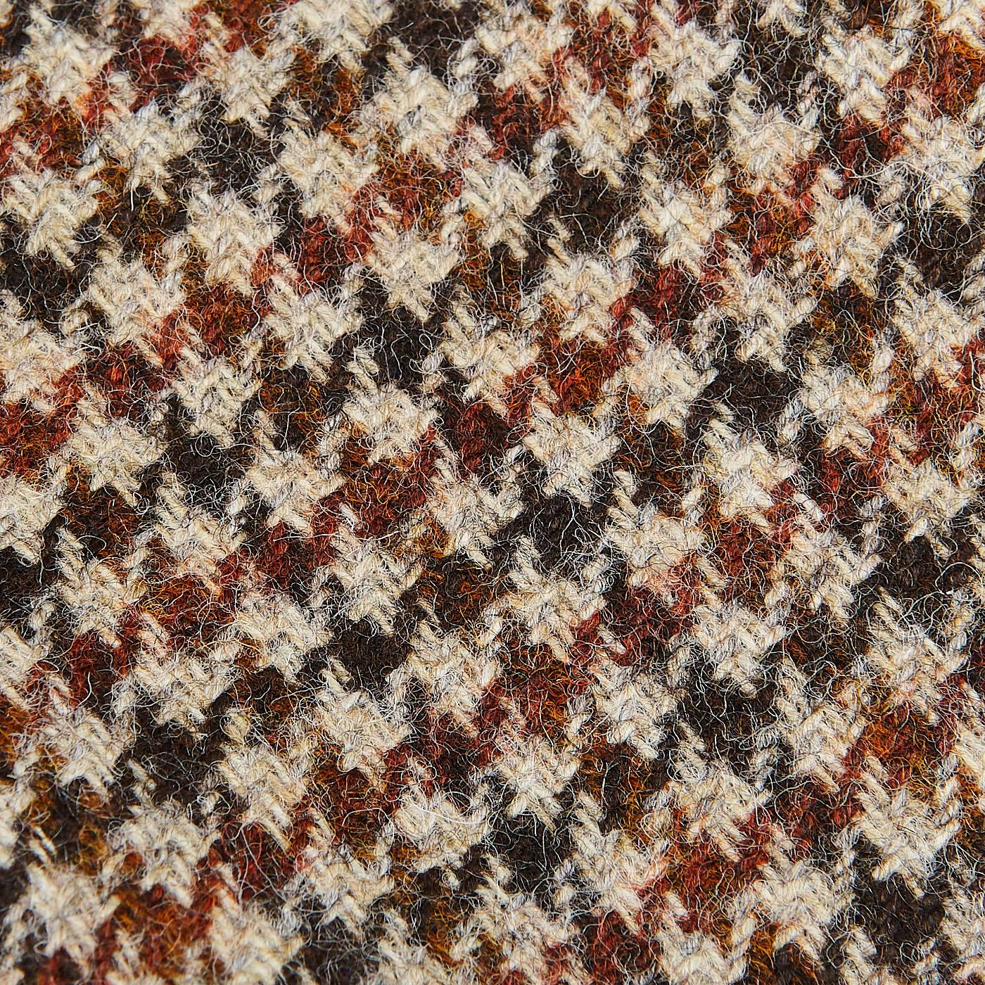 Tagliatore Beige Houndstooth Wool Tweed Vesuvio Blazer Fabric