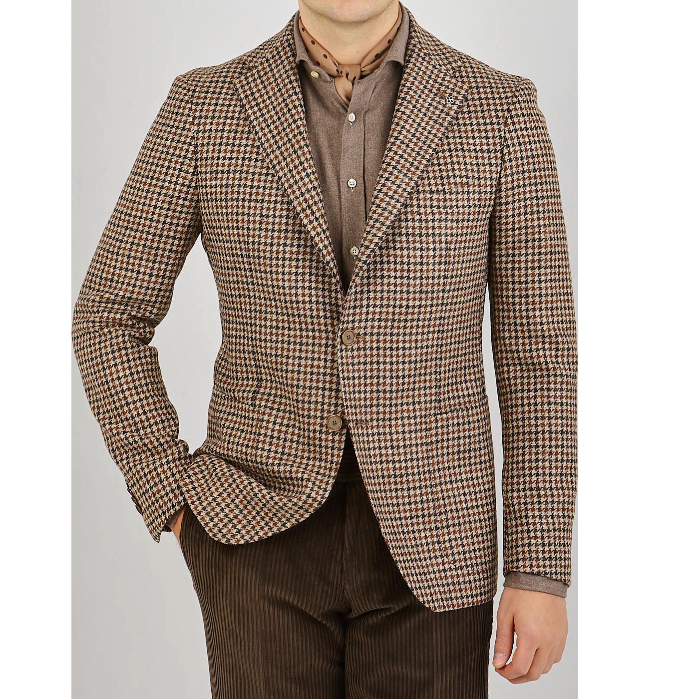 Tagliatore Beige Houndstooth Wool Tweed Vesuvio Blazer Front