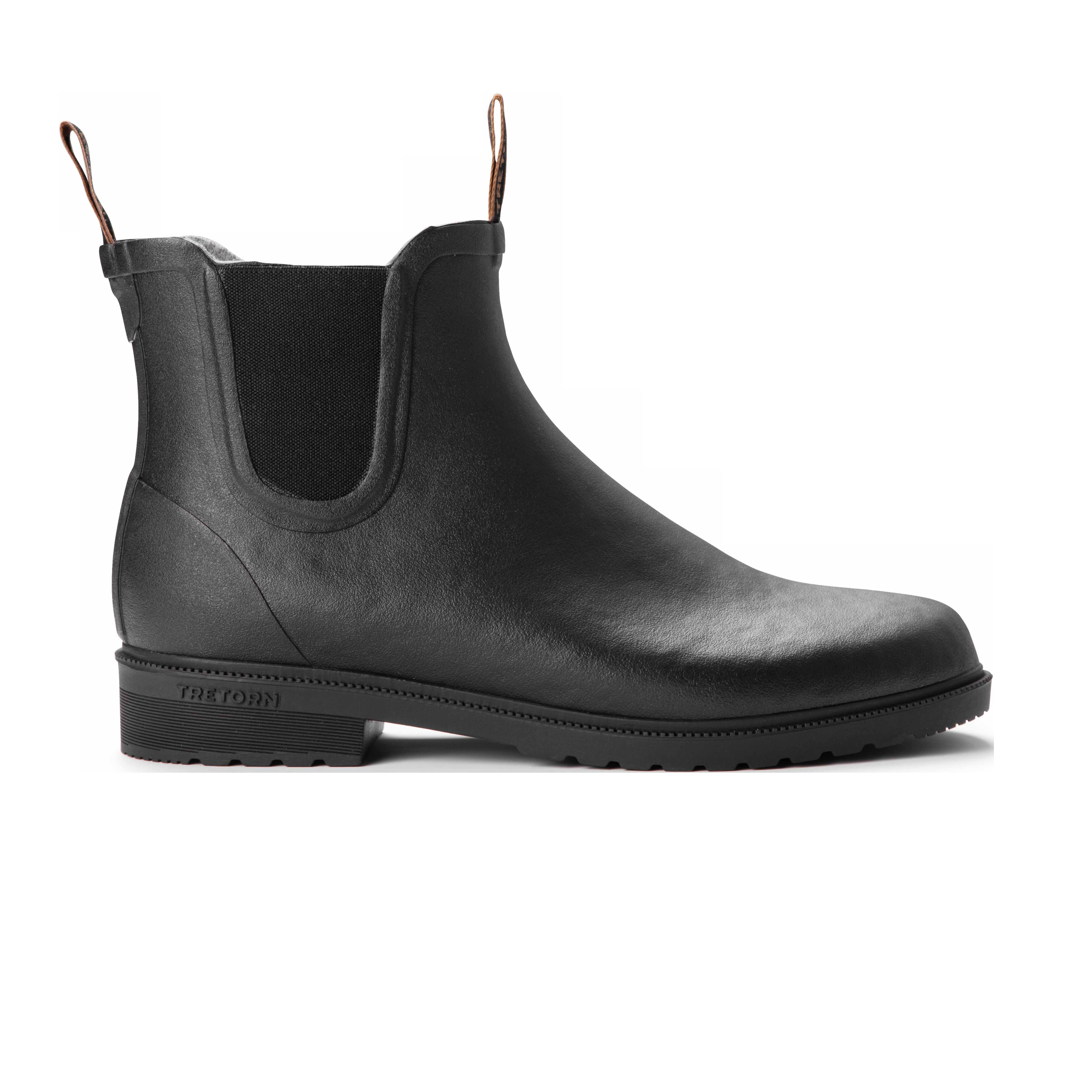 Tretorn Black Rubber Wool Lined Chelsea Boots Side
