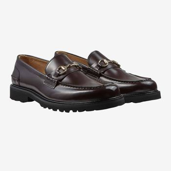 Vinny's Oxblood Polished Leather Le Club Loafers Feature