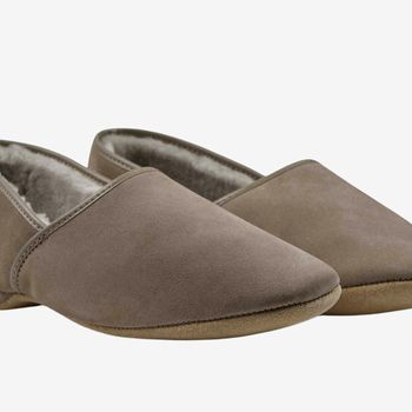 Derek Rose Taupe Suede Sheepskin Closed-Back Slippers Fabric
