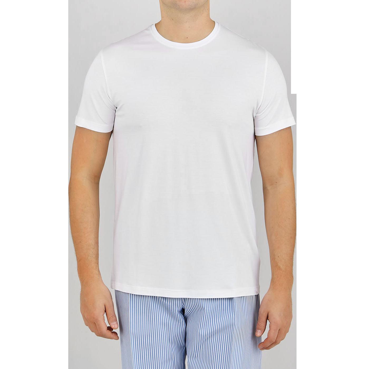 Derek Rose White Micro Modal Stretch T-shirt Front